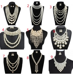 Women girls carnival party stage performance jewelry pearl necklace silver crystal long exaggerated sweater chain collar tassel multi-layer pearl necklace