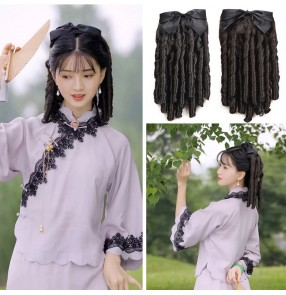 Women girls Cheongsam dress Curly wig ponytail republic of China Shanghai oriental retro chinese princess qipao dress photos shooting bowknot wig for female