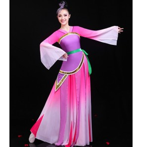 Women girls chinese folk dance costumes hanfu pink with violet classical dance dress fairy drama cosplay dresses