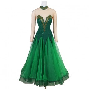 Women girls dark green rhinestones competition ballroom dance dresses waltz tango dance dresses flamenco dance dresses