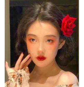 Women girls Flameno latin dance Red rose flower headdress Retro photo hair accessories Anchor live broadcast hairpin accessories