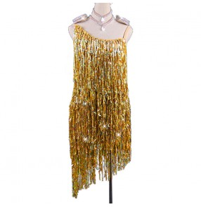 women girls gold sequined competition Latin dance dress costumes high-end performance strapless backless salsa chacha dance dress
