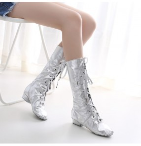 Women girls Gold silver high-top long jazz dance shoes gogo dancers stage performance boots riding boots leather performance stage shoes Mongolia boots