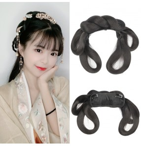 Women girls Hanfu fairy dress cosplay headband chinese ancient folk costumes Wig Han Song Ming Tang dynasty performance princess hair bun hair accessories