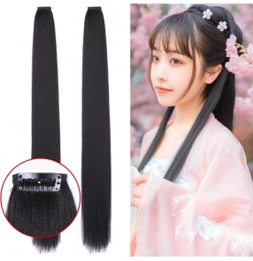 Women girls hanfu fairy dresses cosplay wig 70cm straight hair extension bundle hair row COS ancient style photo studio shooting fairy dresses