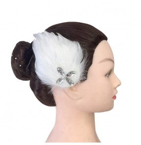 Women girls kids swan lake ballet dance stage performance feather headdress head hair accessroies one pair
