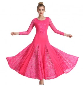 Women girls lace ballroom dance dresses blue pink black red modern dance waltz tango foxtrot smooth dance dress swing skirts ballroom dance costumes
