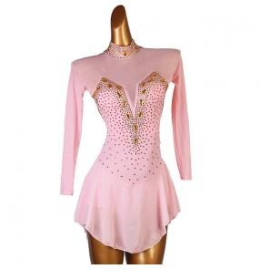 Women girls Light pink rhinestones competition latin dance dresses long sleeves stage performance rumba salsa chacha skating dance dresses