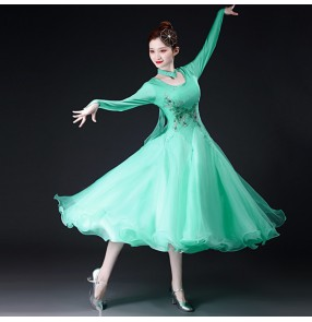 Women girls mint turquoise ballroom dance dresses large skirt ballroom dance costume ballroom dance competition dress foxtort smooth standard waltz ballroom dance skirt