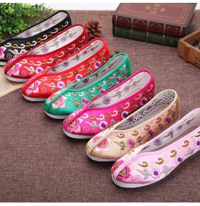 Women girls Old Beijing cloth shoes Chinese Hanfu Tang princess fairy printed stage performance Breathable linen ethnic embroidered shoes