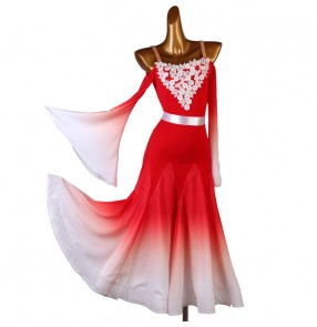 Women girls red gradient lace ballroom dance dresses long sleeves waltz tango ballroom dance gown for female