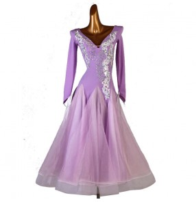 Women girls Royal blue purple hot pink black ballroom dancing dresses competition ballroom dance dresses waltz tango dance dress ballroom dance skirts