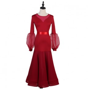 Women girls wine color ballroom dancing dresses modern dance waltz tango dance dresses