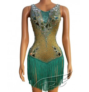 Women green sequined tassels singers car model dj ds dance dresses sexy stretch short skirt evening dress canival prom party performance costume for lady