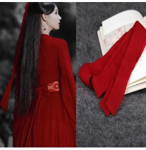 Women hanfu fairy dresses Red antique hair band hair rope antique accessory Chiffon Long Ribbon princess Hanfu Headdress