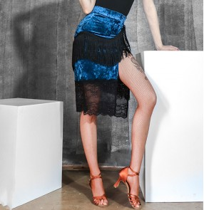Women High slit Blue with black lace latin dance skirt female salsa chacha rumba fringed Latin dance practice skirt Stretch velvet lace skirt