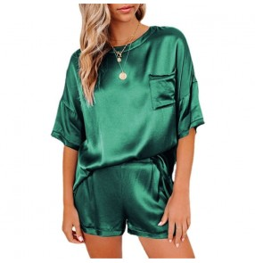 women Irregular two-piece sleep wear suit of solid color imitation silk pajamas top short-sleeved shorts home wear