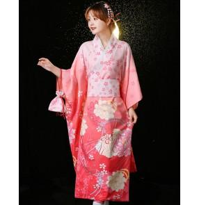 Women Japanese Traditional kimono cosplay dresses Japan pink blue formal dress anime drama cos bathrobe Japanese vintage Photos shooting yukata kimono gown