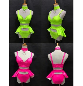 Women jazz dance Bar ds singers peformance costumes Sexy fluorescent green pink yellow elastic leather split suit female singer gogo dance costume hot dance stage costume