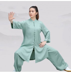 Women kungfu clothing taichi uniforms breathable material martial art wushu performance suit for female