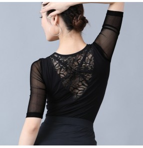 Women lace short sleeves latin ballroom dance tops stage performance pratice exersises dance blouses for female