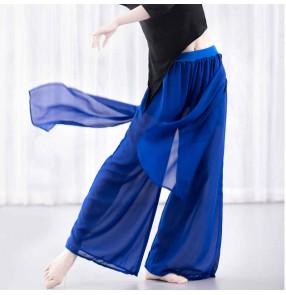 Women latin ballroom wide-leg pants skirt training practice exercises performance costume modern ballet classical chiffon high waist yoga trousers female