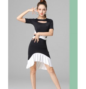 Women Latin dance costume for adults Black and white patchwork latin dance dress Cha Cha performing professional practice dance clothes for women