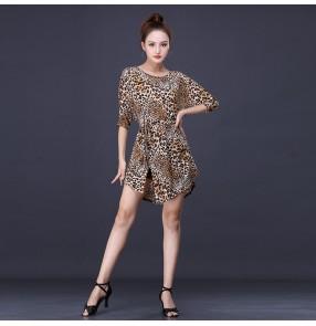 Women leopard black Latin dance costume female adult Practice latin dance dress Professional dance clothes