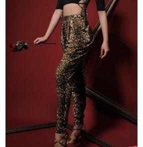 Women leopard black latin dance harem pants ballroom latin dance long trousers for female