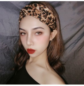Women Leopard print elastic headband for Latin ballroom dance yoga training Aerobics fitness absorb sweat headband for lady