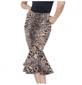 Women leopard printed latin dance skirts  latin dance costumes for lady back slit salsa rumba chacha dance skirts for female