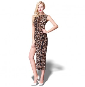 Women leopard sexy evening party dress stage performance dress latin dance dress for female