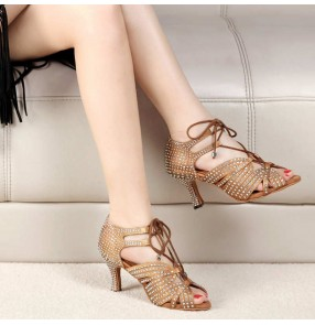 Women light gold black Professional Latin dance shoes adult adies with diamond ballroom dance shoes soft-soled mid-high-heeled square dance shoes