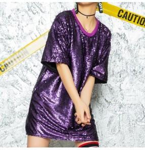 Women men's red silver sequins modern dance jazz dance tops hiphop stage performance tops