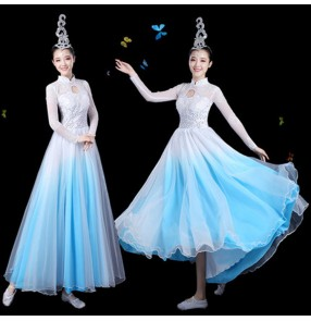 Women modern dance long dress for female blue green yellow singers gogo dancers traditional ancient dancing  video performance dresses