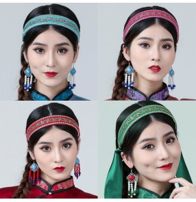 Women Mongolian dance headwear hairpin ladies ethnic dance performance hair accessories adult children Mongolian headband