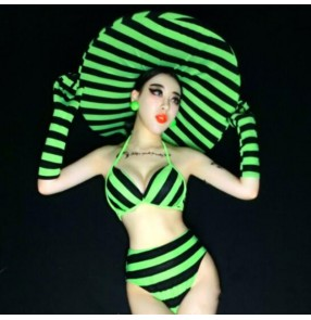 women Night bar singers jazz dance costumes dj zebra stripes fluorescent green party gogo sexy photos shooting swimsuit bikini ds costumes