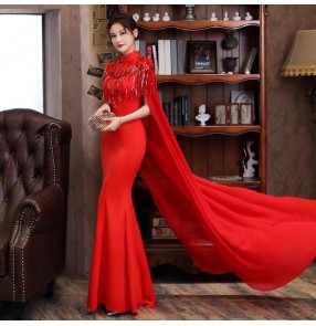 Women oriental model catwalk cheongsam Long performance chinese dresses fishtail skirt host dress female performance costume with cloak