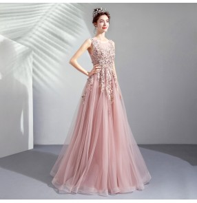 Women Pink bride wedding toast dress dinner annual party performance bridesmaid wedding dress singers solo host performing dresses