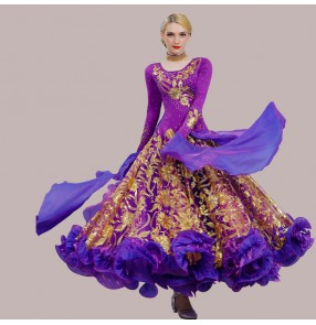 Women professional competition waltz tango ballroom dance dresses black with gold red violet flamenco big skirted dresses