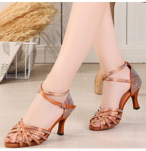 Women Professional flesh champagne Latin dance shoes adult ballroom dance ladies with diamond mid-high heel dance shoes soft sole square dance shoes sandals