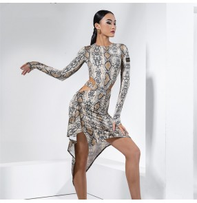 Women Python pattern long sleeves latin dance dresses latin dance costumes irregular skirts salsa rumba chacha dance dresses for female