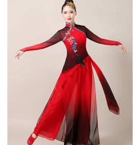 women qipao dress chinese black with red Classical dance performance costume female Chinese yangko costume rhyme fairy fan performance dance costume