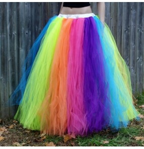 Women rainbow color jazz dance skirts photos puffy tulle singers night club performance skirts for female