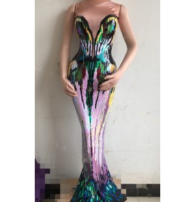Women rainbow sequined Singer host stage performance long tailing bodycon dresses car model Dj Color sequins wrapped hip long tail fishtail glitter dress for women Stage performance costumes