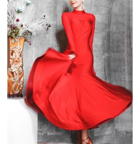 Women red ballroom dance dresses flare long sleeves big swing ballroom dance skirts long sleeves mesh patchwork waltz tango foxtort competition dance gown