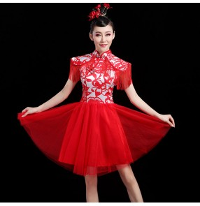 Women red chinese style drummer performance dresses modern dance gogo dancers stage performance dresses