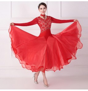 Women red lace ballroom dance skirt ballroom dance dresses long sleeves ballroom dance costumes standard smooth waltz tango performance dresses