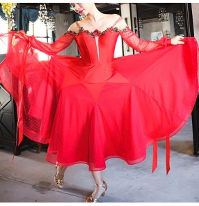 Women red rose flowers ballroom dancing dresses stage performance waltz tango dance dresses