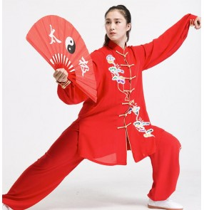 Women Red Tai Chi Clothing female spring autumn embroidered three-piece Morning exercise kungfu Wushu suit Chinese style Tai ji quan suit